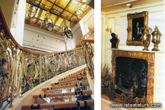 Savarona'nın merdiven ve şöminesi
