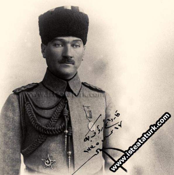Şişli'deki evinde kardeşim Rauf Bey'e diyerek, Rauf Orbay'a imzalamıştır. (17.04.1919)