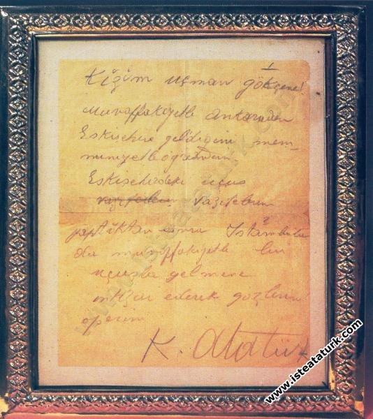 Sabiha Gökçen'e Yazdığı Mektup