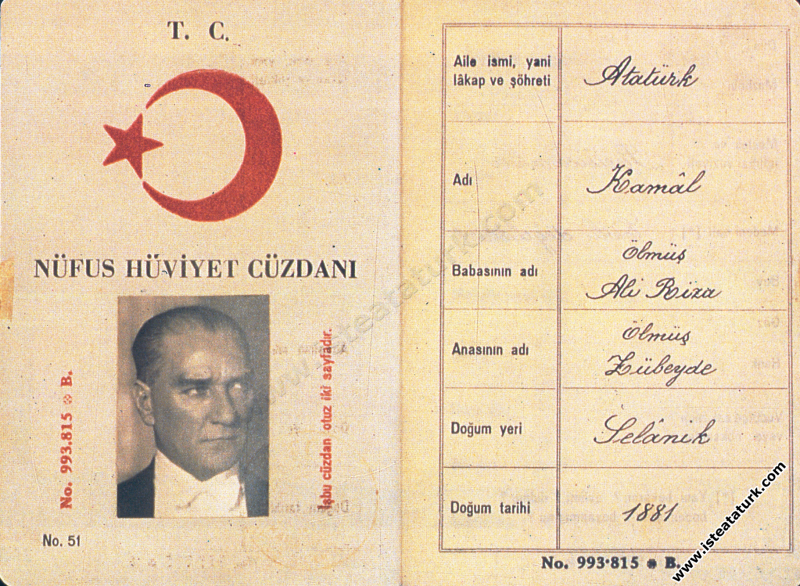 Mustafa Kemal Atatürk'ün Nüfus Hüviyet Cüzdanı. (2...
