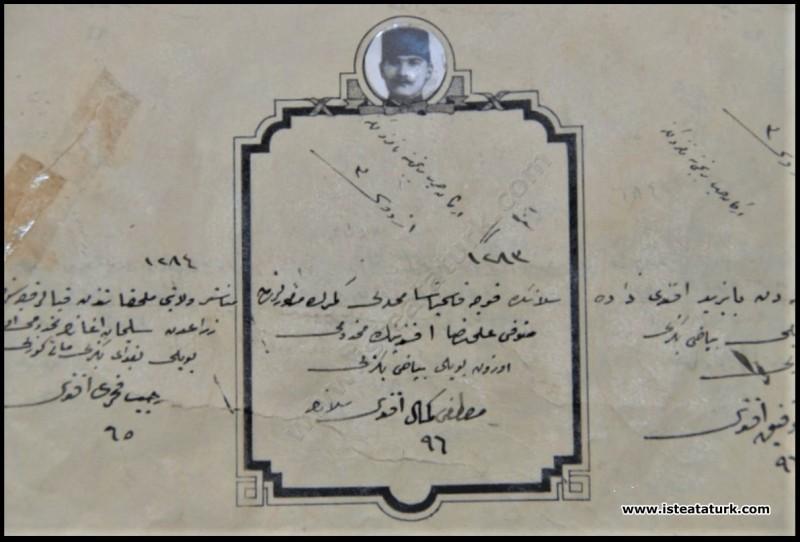 Mustafa Kemal'in Kurmay Okulu'na Giriş Namzetlik Belgesi. (1902)