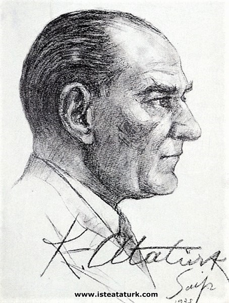 Saip Tuna tarafından yapılan ve Atatürk'e imzalatılan desen. (1935)