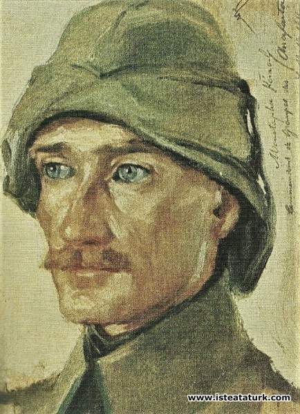 Wilhelm Victor Krausz'un yaptığı Mustafa Kemal'in ilk portresi, 1916