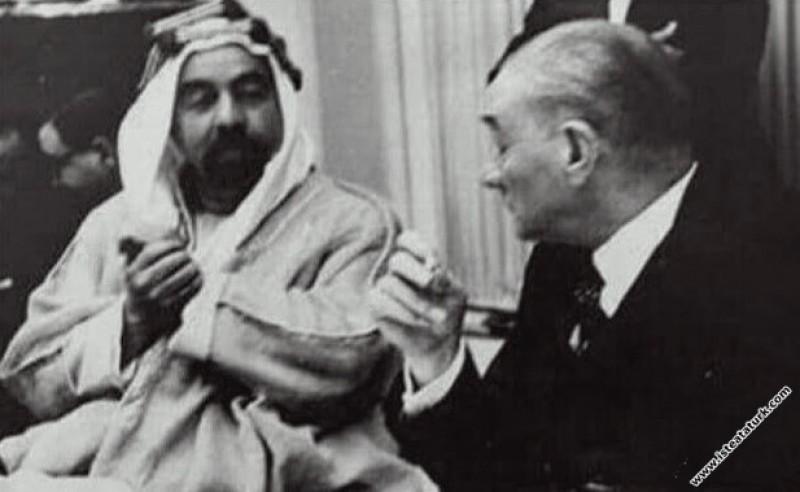 Mustafa Kemal Atatürk Ürdün Kralı Abdullah ile Bey...