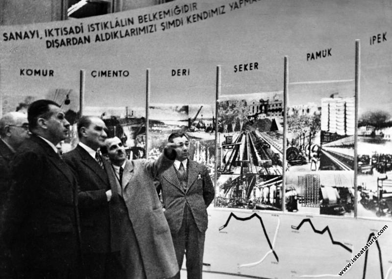 Atatürk, Ankara Sergi Evi'nde, Yerli Malları Sergisini gezerken. (10.11.1934)